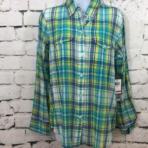 NWT Ralph Lauren pretty plaid button down shirt